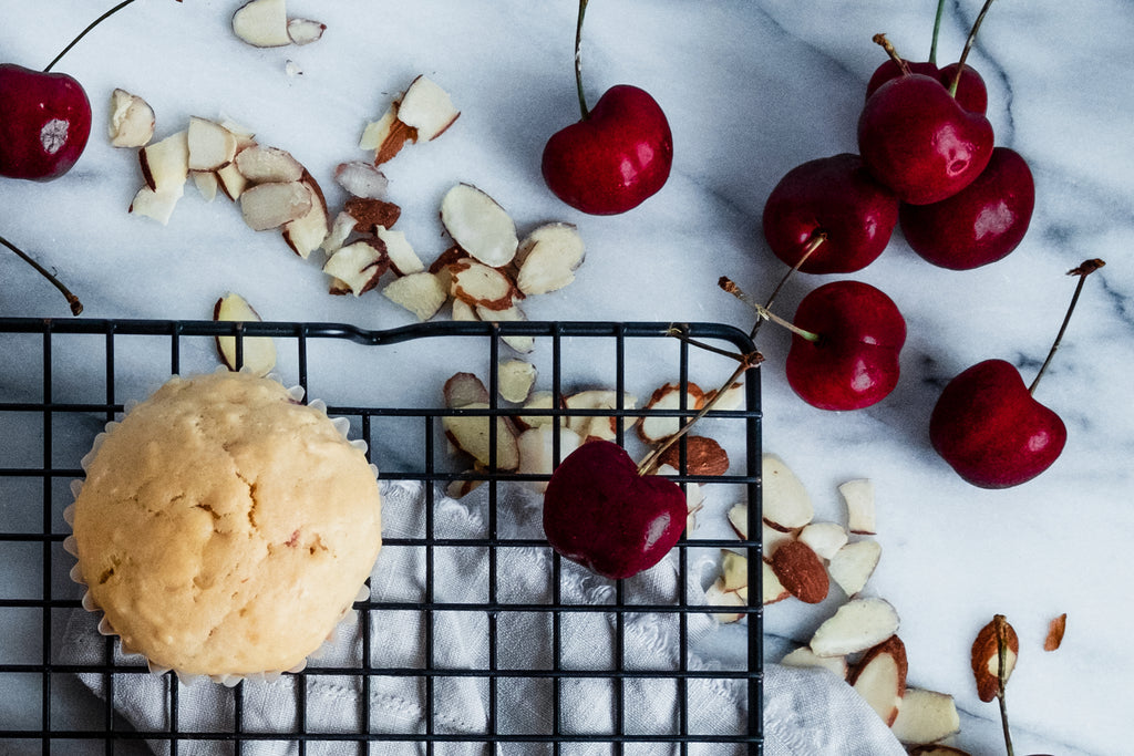 Coconut Cupcake with Summer Cherries