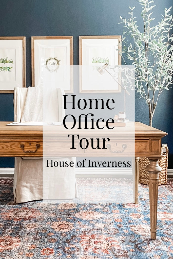 Image of House of Inverness Home Office, viewing the desk, chair, tree, rug and wall decor.