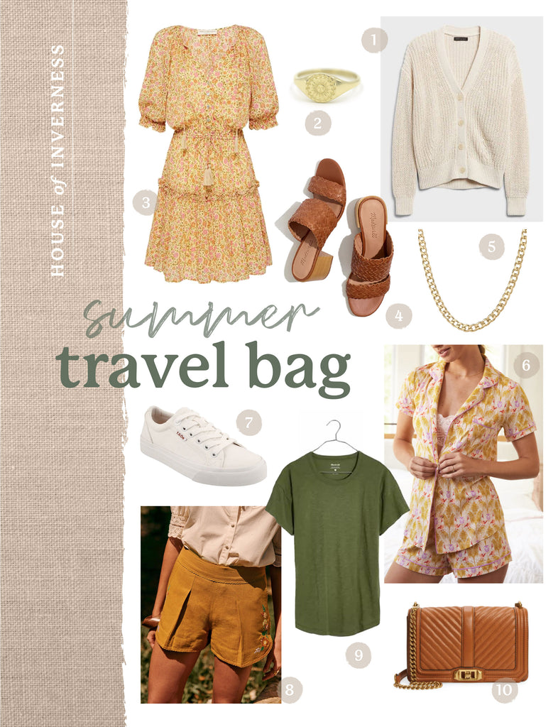 Summer Travel Bag finds for summer fashion - what to pack on a weekend trip. An article from the House of Inverness Blog