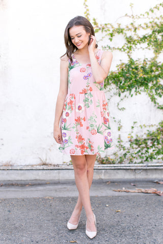 In Bloom Tie Back Peach Chiffon Floral Dress