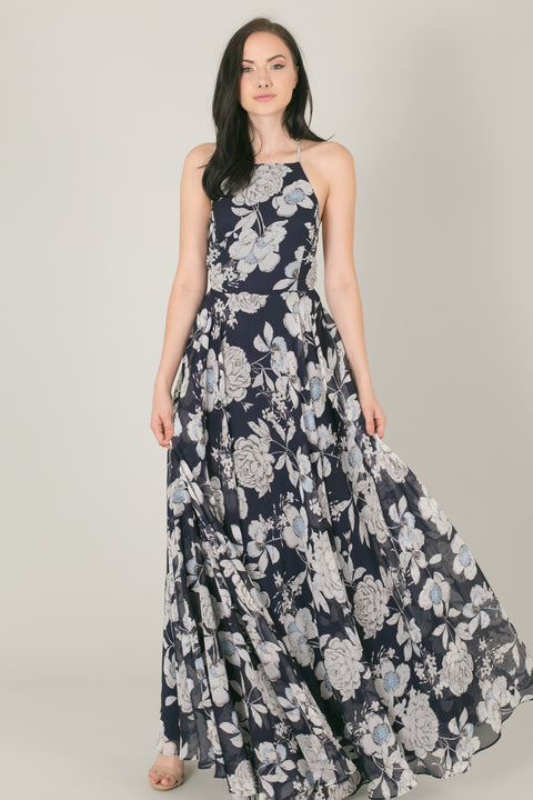 Payton Navy Floral Flowy Maxi Dress