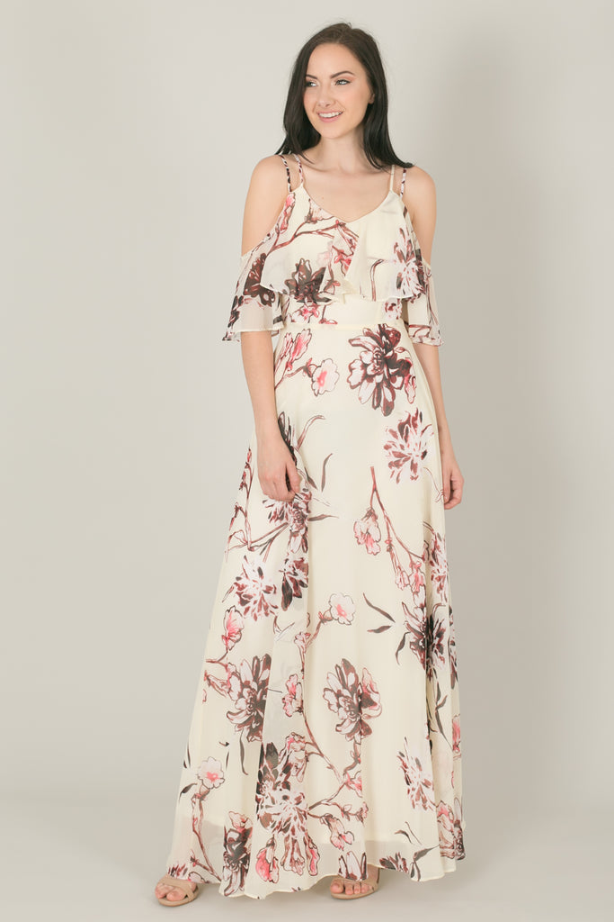 8148849f36f Raquel Ivory Floral Flowy Maxi Dress. Images   1   2   3 ...