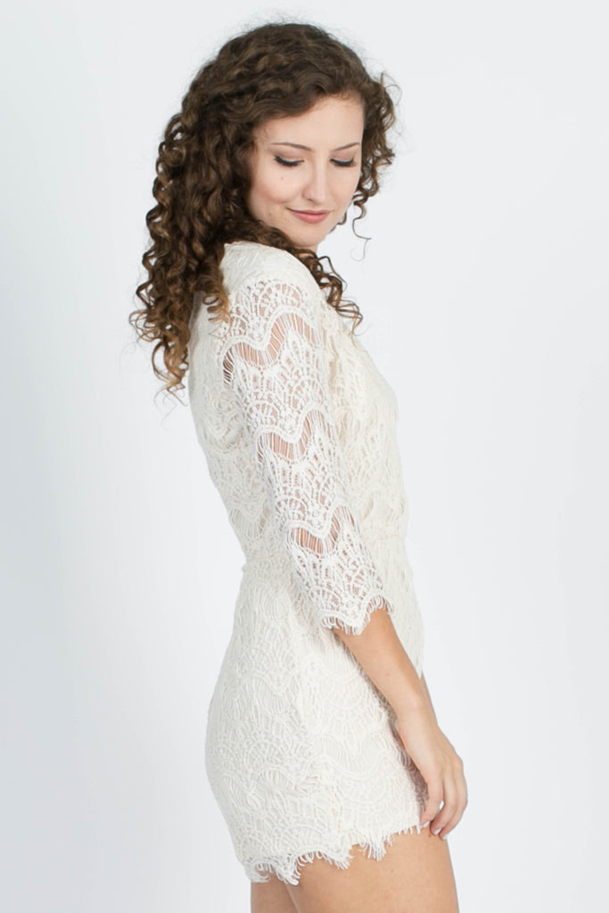 Stay With Me Lace Romper - Ivory