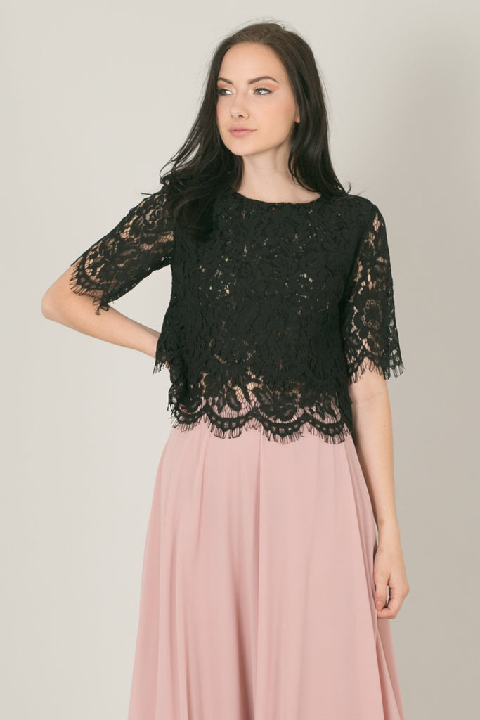 Jaylyn Floral Lace Crop Top - Black
