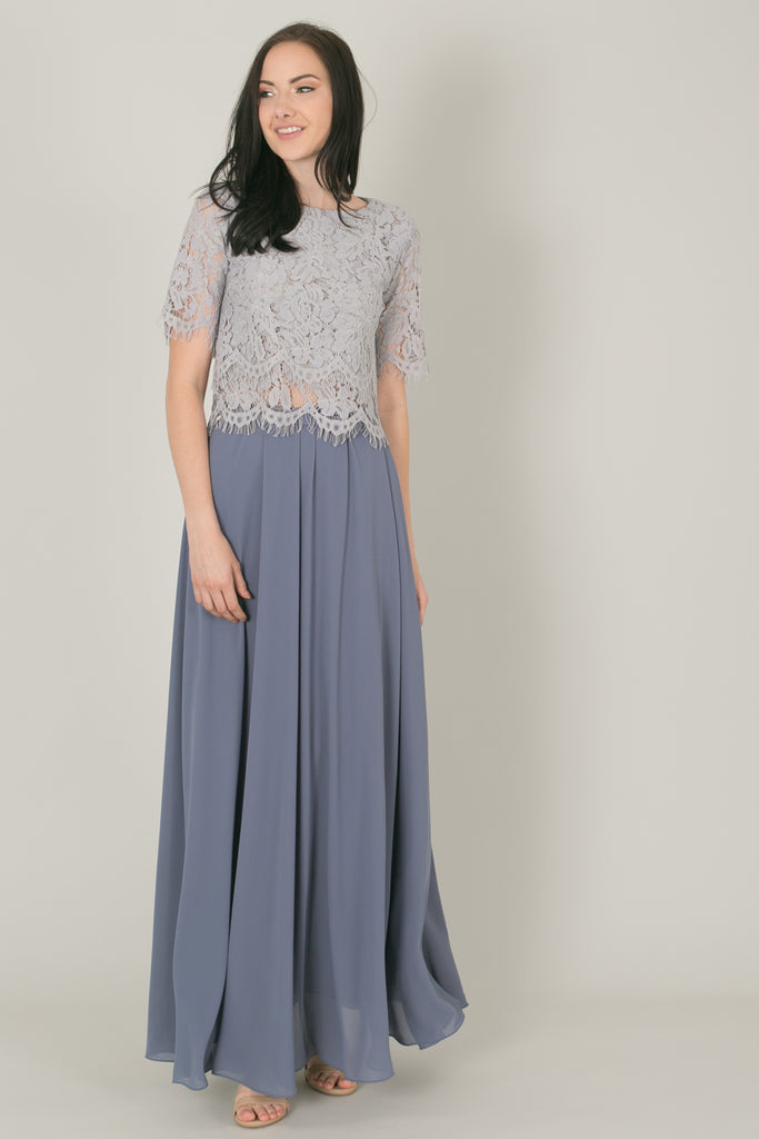 Kelly Steel Blue Full Maxi Skirt