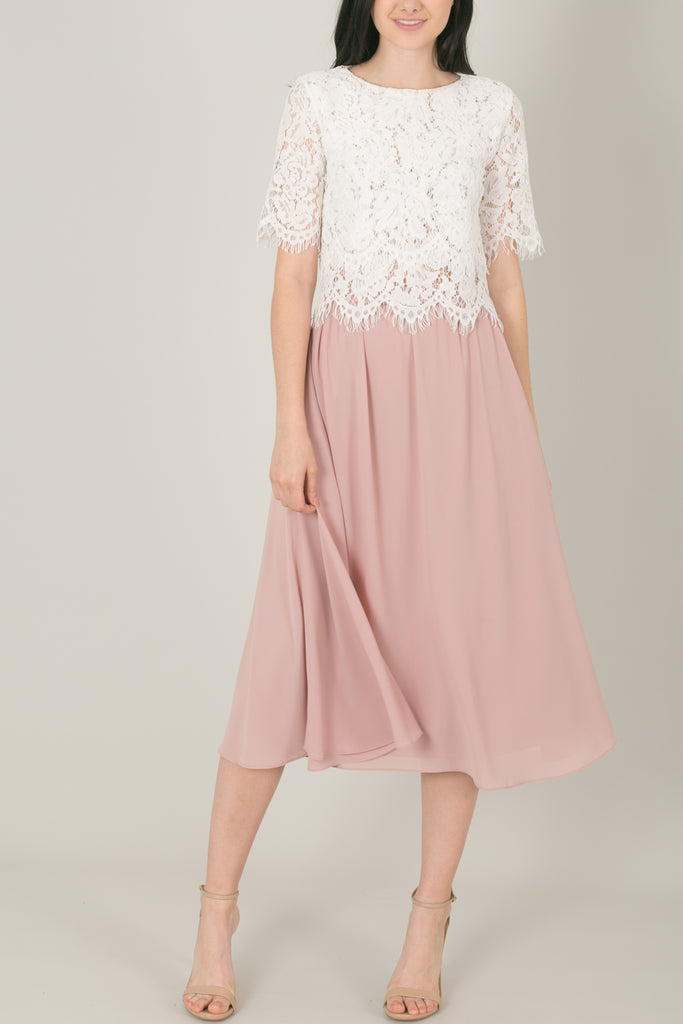Kelly Pink Full Midi Skirt