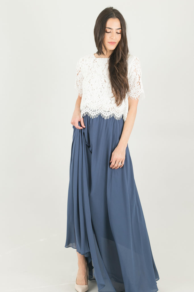 Kelly Dark Blue Full Maxi Skirt