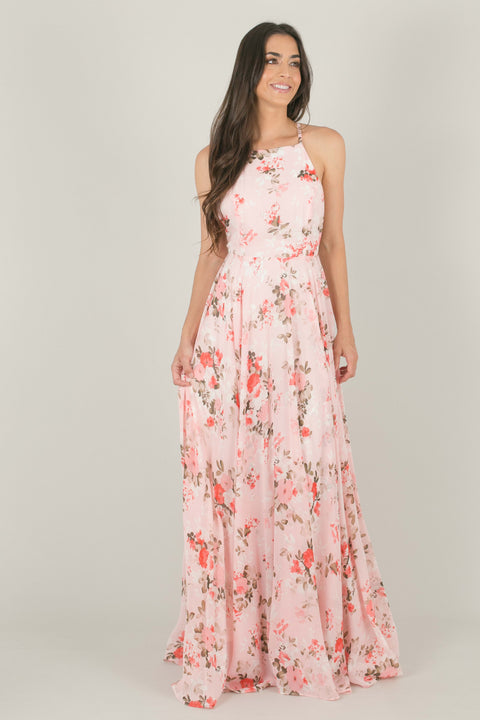 Payton Flowy Maxi Dress - Pink Floral