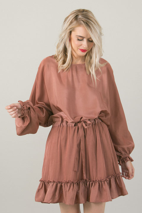 Tracy Ruffled Rose Blush Dress