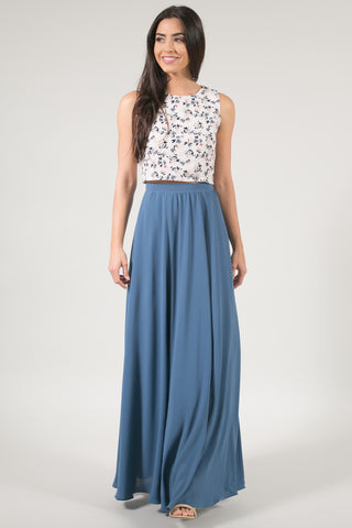 Kelly Slate Blue Full Maxi Skirt