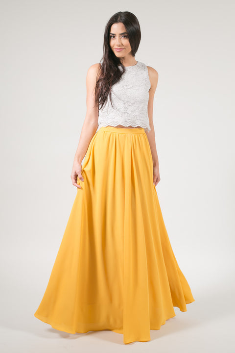 Kelly Yellow Full Maxi Skirt