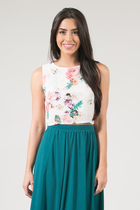 Kari Sleeveless Crop Top - Blush Floral