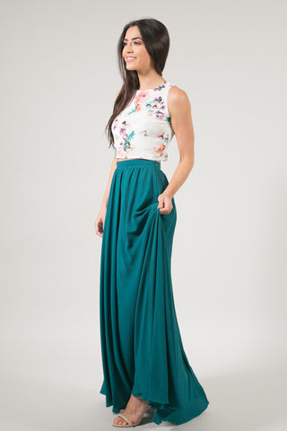 Kelly Green Full Maxi Skirt