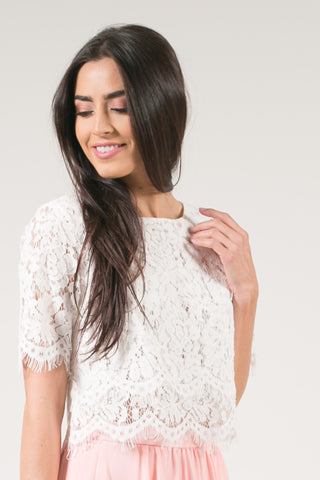 Jaylyn Floral Lace Crop Top - White