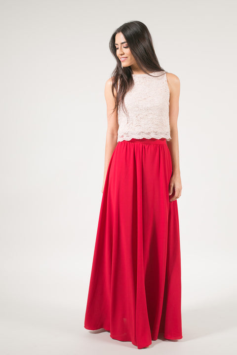 Kelly Red Full Maxi Skirt