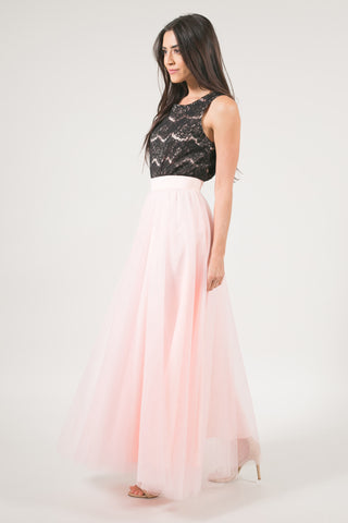 After Dark Maxi Tulle Skirt - Blush Pink