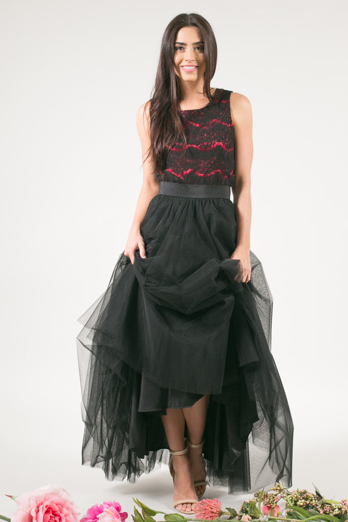 After Dark Maxi Tulle Skirt - Black
