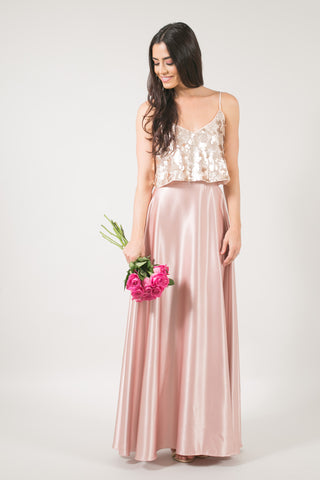 Midnight Rodeo Maxi Silk Skirt - Rose Gold *Final Sale*