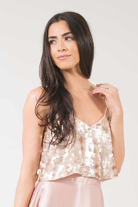 Ellie Rose Gold Sequin Cami Crop Top
