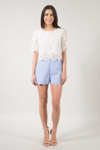 Elsa Blue Scallop Shorts