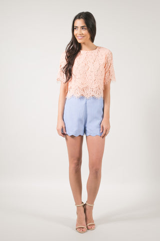 Jaylyn Floral Lace Crop Top - Peach Blush