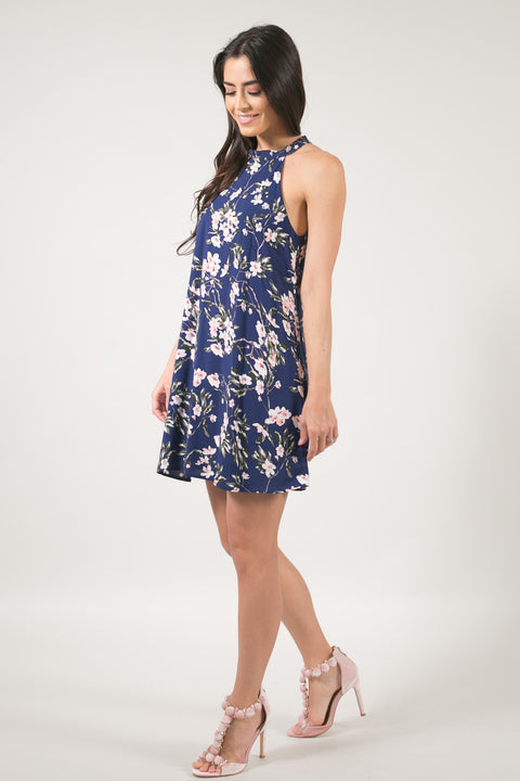 Sakura Navy Chiffon Floral Dress