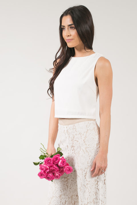 Milly Sleeveless White Crop Top