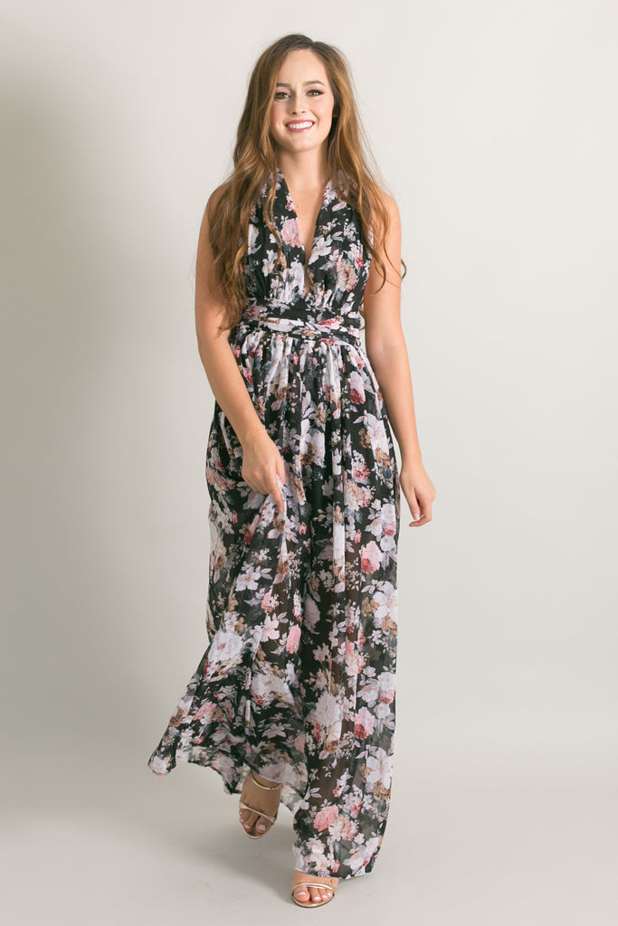 Keep Me Black Floral Maxi Dress