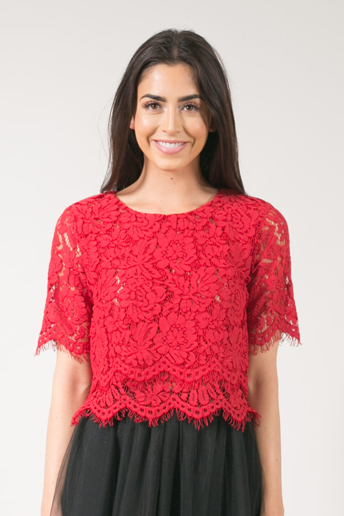 Jaylyn Floral Lace Crop Top - Red