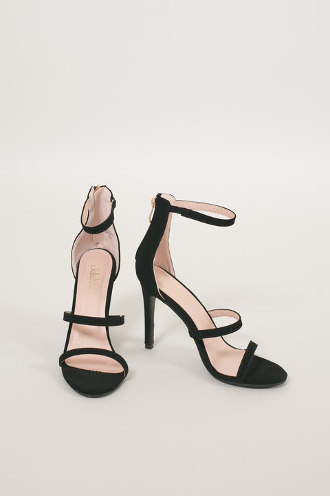 Martina Black Strappy Heels