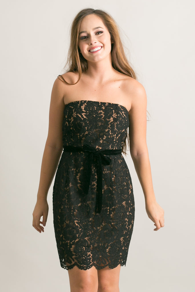 Tess Strapless Black Lace Dress with Velvet Bow
