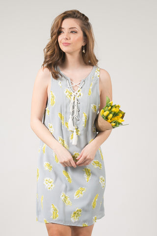 Joanie Sage and Yellow Feather Print Lace-up Shift Dress