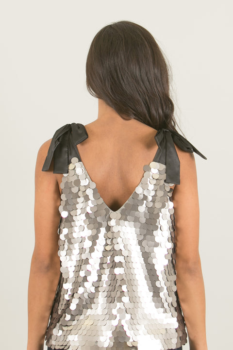 Riki Silver Sequin Cami Top with Bow Ties