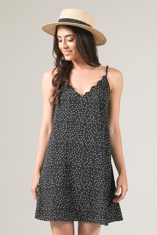 Lucey Black Polka Dot Scallop Cami Slip Dress