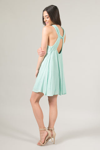 Lora Mint Swiss Dot Halter Dress