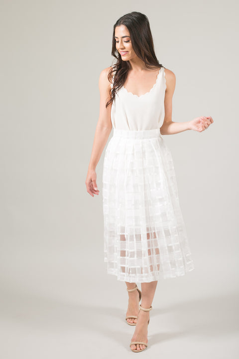 Kiss And Tell Lace Midi Skirt - White
