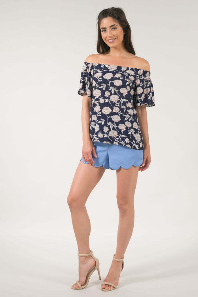 Paige Slate Blue Scallop Shorts