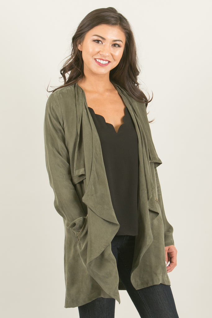 Avalon Pocketed Flowy Drape Olive Jacket