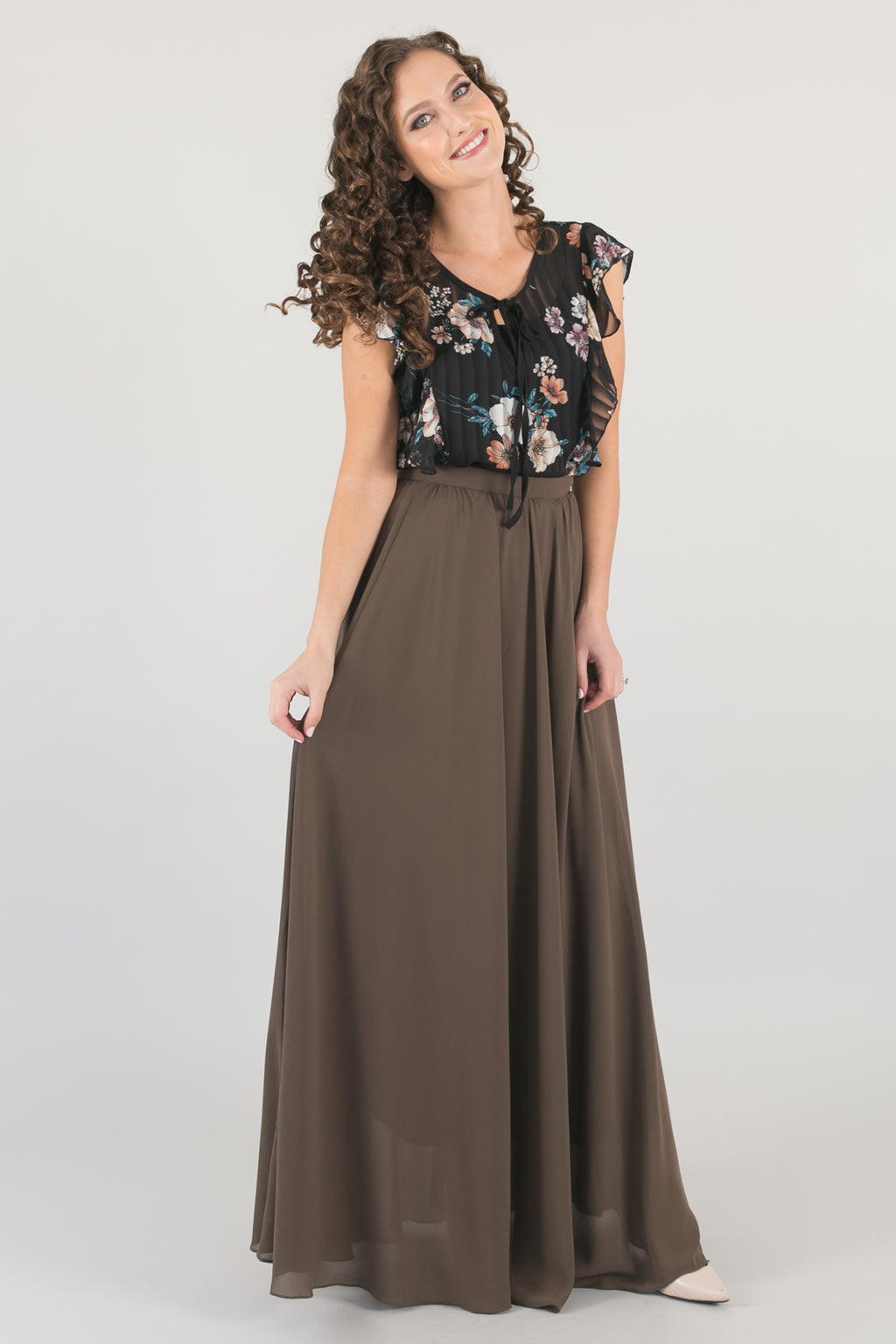 Kelly Chiffon Full Maxi Skirt - Moss Green