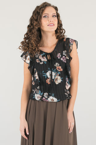 Molly Evergreen Black Floral Ruffle Top
