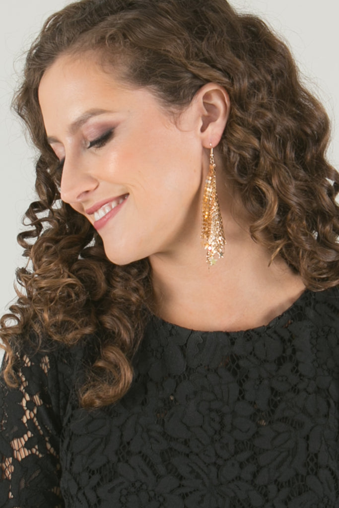 Lush Gold Chainmail Earrings