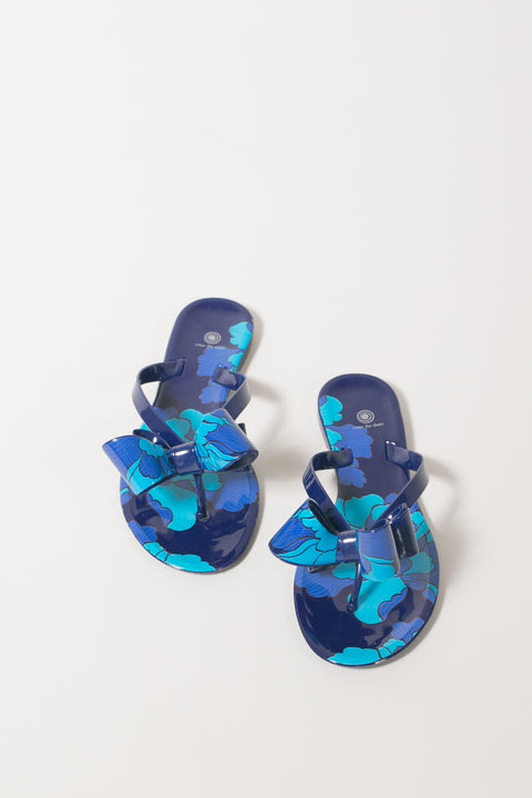 Walk The Line Jelly Bow Sandals - Navy Floral