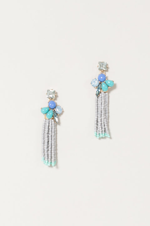 Maui Dusty Blue Gray Bead Tassel Earrings