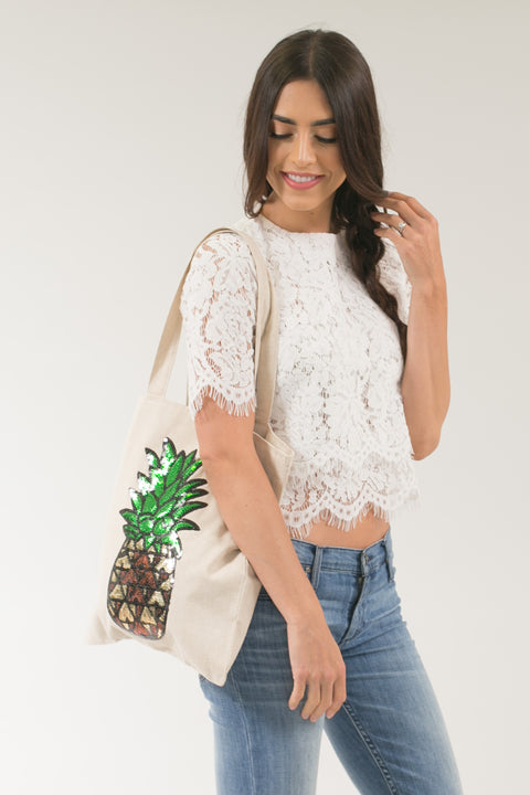 Hailey Beige Linen Sequined Pineapple Tote Bag