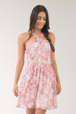 Virgo Pink Floral Ruffle Halter Dress