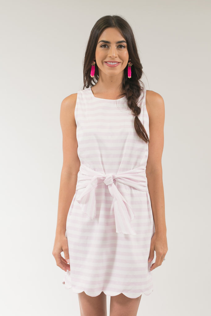 Torey Lilac Striped Scallop Dress with Bow