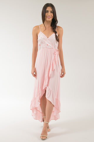 Renta Pink Embroidered Ruffle Wrap Maxi Dress