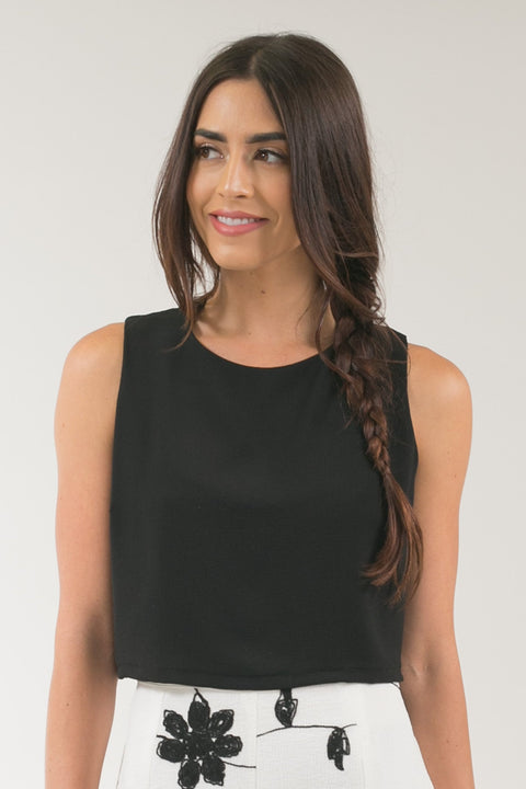 Milly Sleeveless Black Crop Top