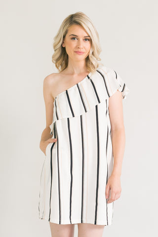 Simone Ivory Striped One Shoulder Ruffle Dress