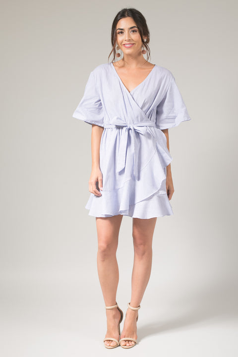 Tessa Blue Stripe Ruffle Wrap Dress
